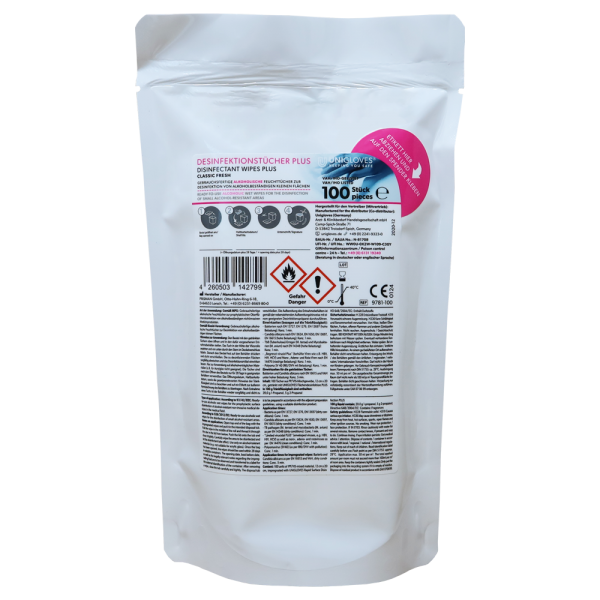 Unigloves - Nachfüllpack | Hygiene-Tücher Jumbo Plus LF, Lemon Fresh [200 Stk.]